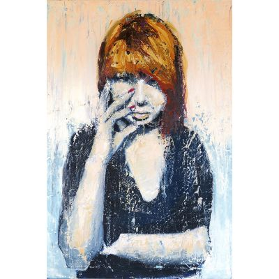 Portrait girl black shirt Sonja - Original Kunst