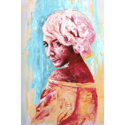 Portrait girl pink hair Faizel - Original Kunst