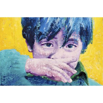 Portrait purple boy wiping nose - Original Kunst