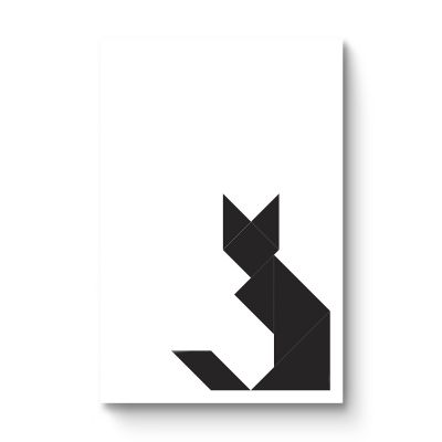 Tangram black cat - Original Kunst