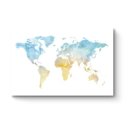 World map blue yellow - Original Kunst