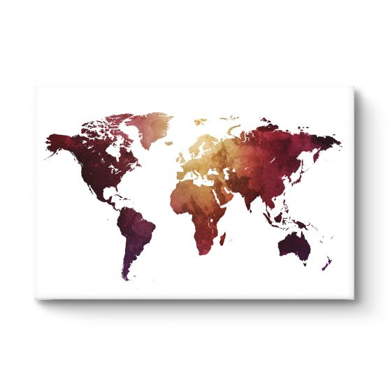 World map red - Canvas