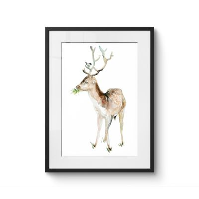 Deer and Bird - Original Kunst