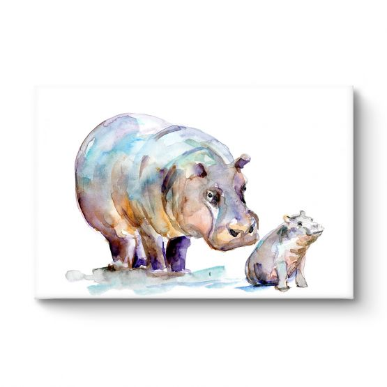 Mother And Baby Hippo - Canvas