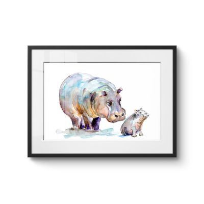 Mother And Baby Hippo - Original Kunst